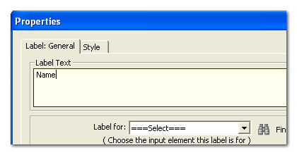 Label properties